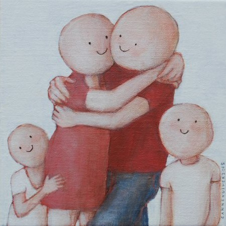 Happy family 18 x 18 cm