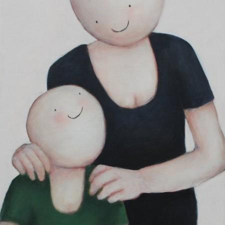Decemberaanbieding: Moeder en kind 2015 acryl  op doek 60 x 40 cm zonder lijst van 575,- voor € 300,- verkocht