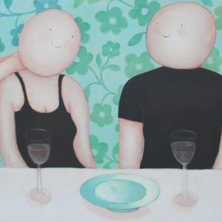 Vrienden aan tafel 70 x 150 cm verkocht
