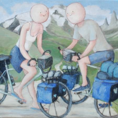 Op de fiets 40 x 50 cm