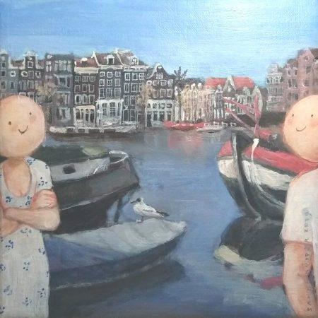 2019 Meeuw en Amstel 18 x 18 cm acryl op doek € 175,-
