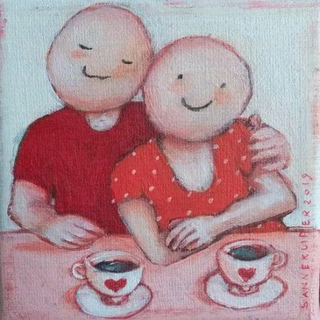 2019 Koffie en liefde 10 x 10 cm acryl op doek verkocht