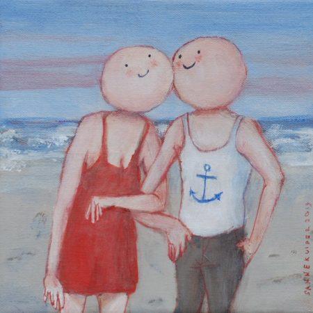 2019 De zeebonk en de vrouw in de rode jurk 18 x 18 cm acryl op doek