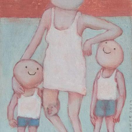 2019 Moedergeluk acryl op doek 18 x 13 cm web