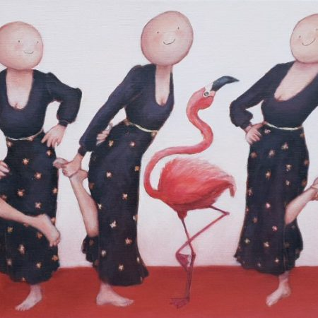 2019 De flamingodans acryl op doek 40 x 50 cm web
