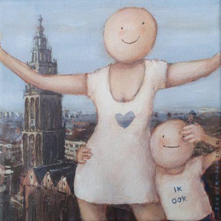2020 Ik hou van Groningen 20 x 20 cm acryl op doek web