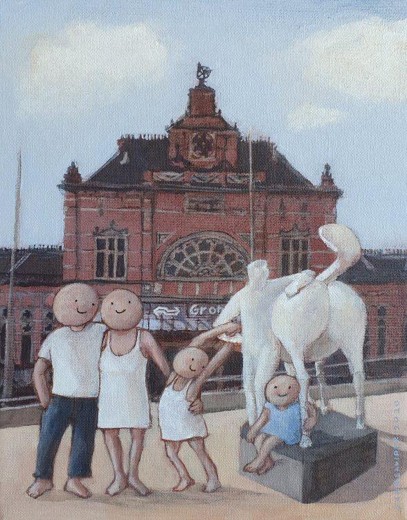 2020 Dagje Groningen 30 x 24 cm cm acryl op doek € 375,-