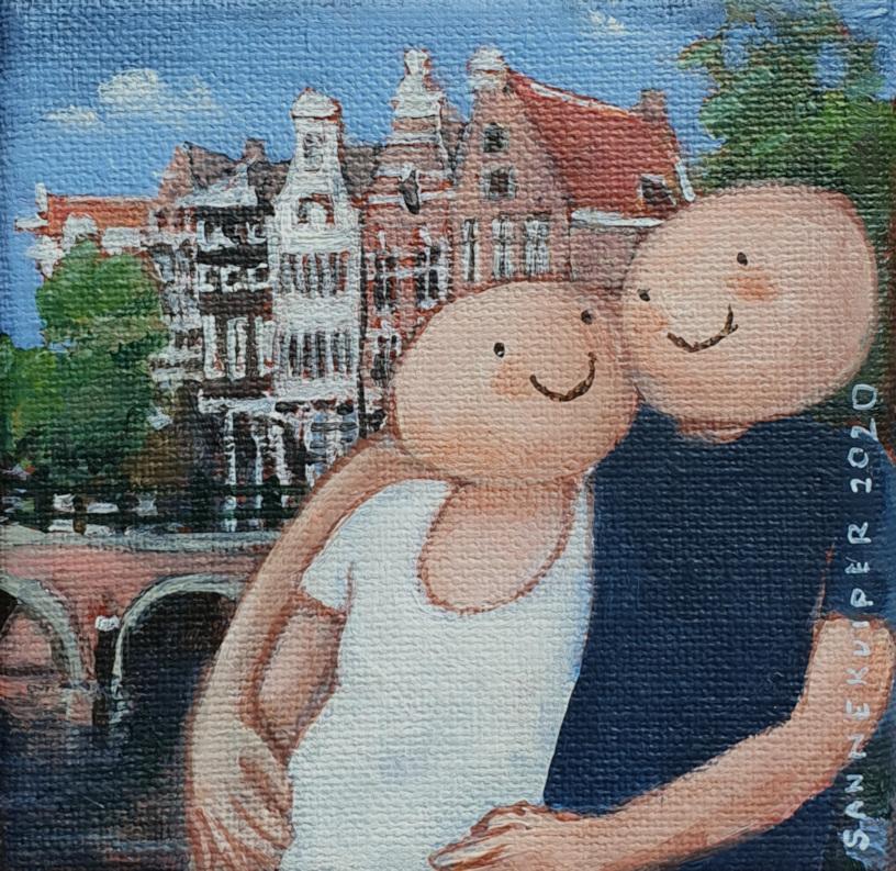 2020 Amsterdams bruggetje 10 x 10 cm acryl op doek € 75,-