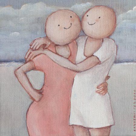 2020 Beachgirls 18 x 18 cm acryl op doek €125,-