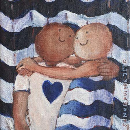 2020 Liefde in blauwwitte golven 10 x 10 cm acryl op doek € 75,-