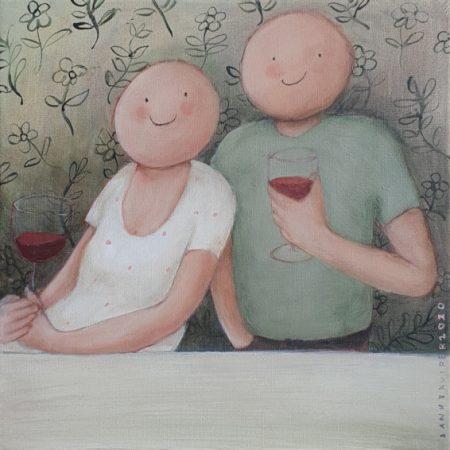 2020 Wijntje drinken 40 x 40 cm acryl op doek € 315,-