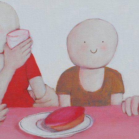 2014 Roze koeken op tafel II 25 x 60 cm € 235,-