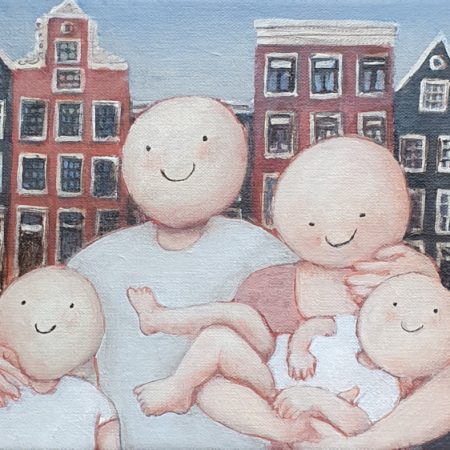 2020 Happy family in Amsterdam 18 x 24 cm acryl op doek € 165,-