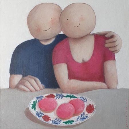 2021 Roze koeken 40 x 40 cm acryl op doek verkocht
