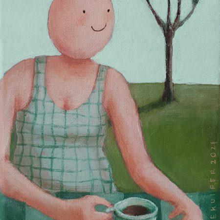 2021 Koffie in de tuin 18 x 13 cm € 115,- verkocht